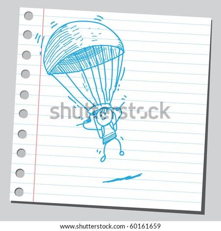 Hand drawn parachuter - stock vector
