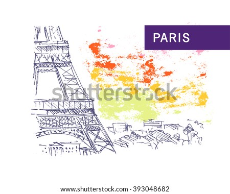 Hand drawn Paris city view sketch. Nature, architect picture. Touristic sight seeing. Print design, book, article illustration. Europe traveling. Memory postcard, invitation design. - stock vector