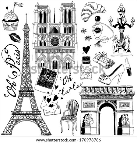 hand-drawn Paris symbols set - stock vector