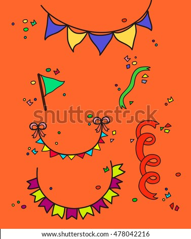 hand drawn party set vector
