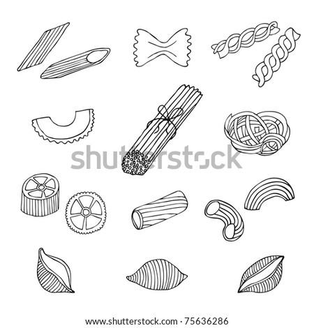 hand drawn pasta set - stock vector
