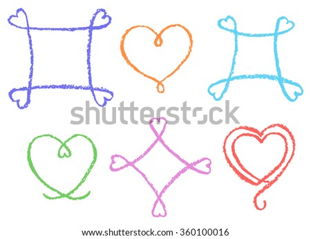 Hand drawn pastel chalk crayon frames with heart shape. Set of funny line copyspaces. Vector decorative design elements. Happy valentine day background.  - stock vector