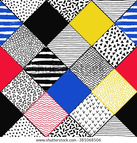 Hand Drawn Patchwork Background. Childish textured patterns. Colorful paint lines, polka dot, chevron, birds, wave pattern, squares. Vector grunge background. Blue yellow red black and white colors - stock vector