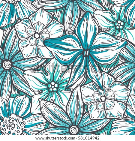 Hand drawn pattern with decorative floral ornament. Stylized colorful flowers. Summer spring neutral background. Vector illustration