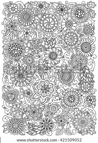 Hand drawn pattern with flowers. Ornate pattern with abstract flowers and leaves. Black and white background. Zentangle inspired pattern for coloring book pages for adults and kids. - stock vector