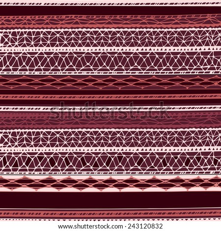 Hand-drawn pattern with lines colored in Marsala tones - stock vector