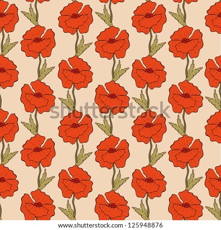 hand drawn pattern with red poppies - stock vector