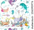 hand drawn pattern with sea creatures swimming underwater, colored doodles over white - stock vector