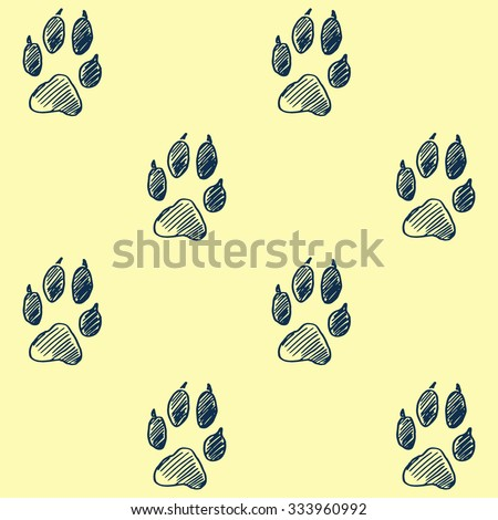 Hand drawn paw pattern, Doodle footprint background. Realistic wolf track - stock vector