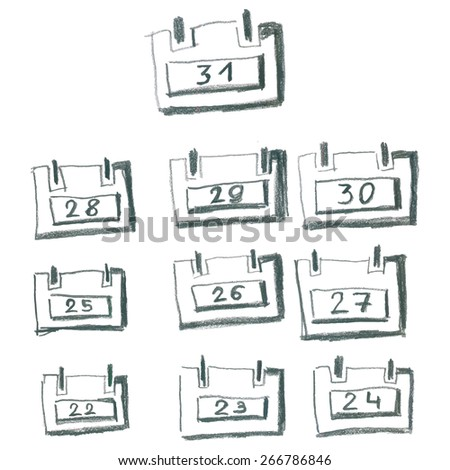 Hand drawn pencil desk calendar. Numbers from twenty-two to thirty-one - stock vector