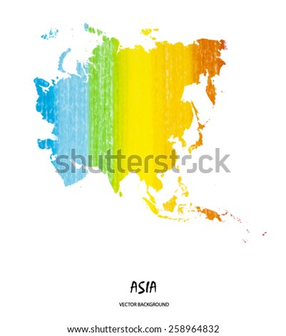hand drawn pencil stroke map of Asia isolated on white. Vector version - stock vector
