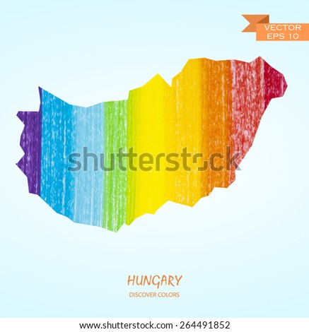 hand drawn pencil stroke map of Hungary isolated. Vector version