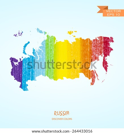 hand drawn pencil stroke map of Russia isolated. Vector version - stock vector