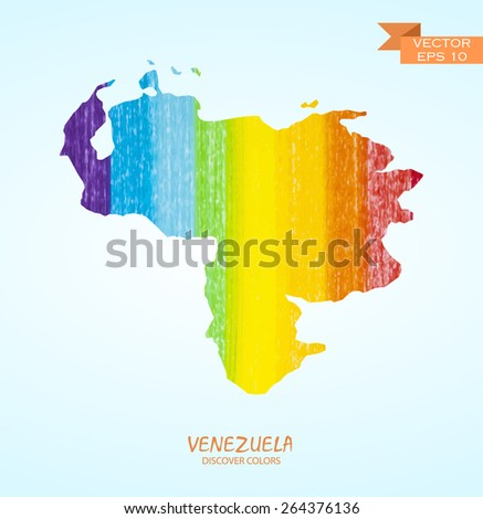 hand drawn pencil stroke map of Venezuela isolated. Vector version  - stock vector