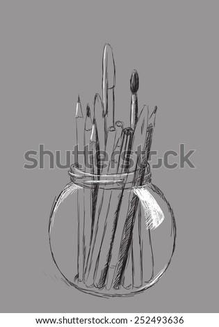 hand drawn pencils in jar on gray - stock vector