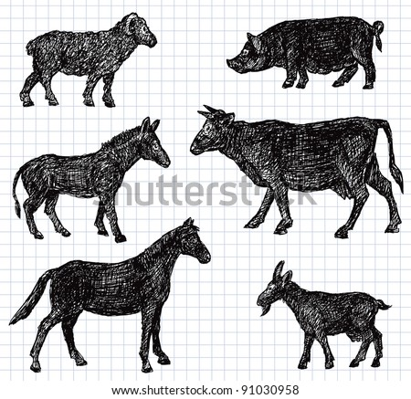 hand drawn pets - stock vector