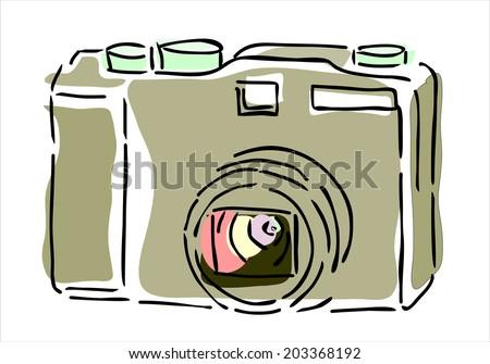 hand drawn photo camera - stock vector