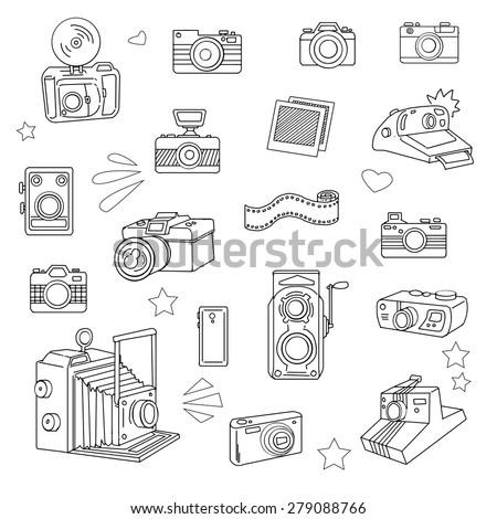 Hand drawn photo cameras set, vector illustration - stock vector