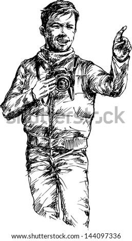 hand drawn photographer - stock vector