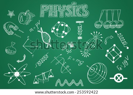 Hand drawn Physics set. Chalk on the blackboard  - stock vector