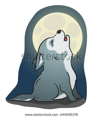 Cute wolf cartoon howling