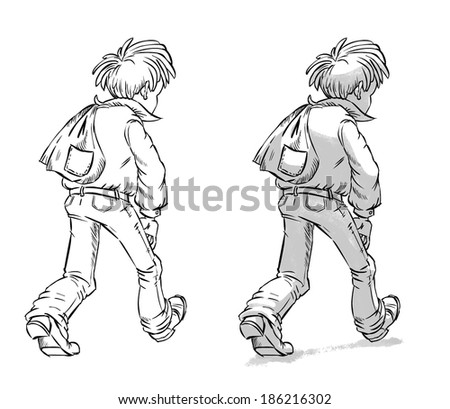 hand drawn picture of boy with a backpack vector