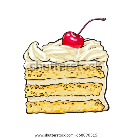 Hand Drawn Piece Classic Layered Cake Stock Vector