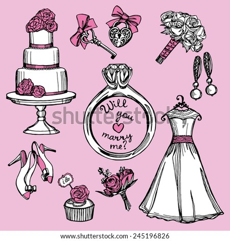 hand drawn pink and white doodle wedding set on pink background. Marry me ring, wedding dress, wedding flowers, wedding cake - stock vector