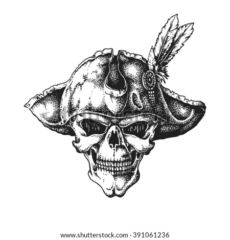 Hand drawn pirate captain skull wearing tricorne hat. Vector illustration - stock vector