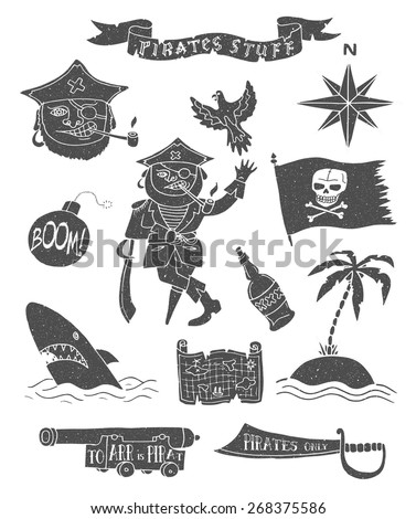 Hand drawn pirate objects collection. Vector illustration. Isolated.  - stock vector