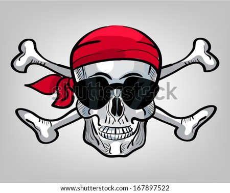 Hand drawn pirate skull with sunglasses and bandanna - stock vector