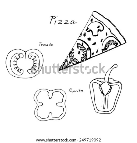 Hand drawn pizza and vegetables sketch - vector illustration - stock vector