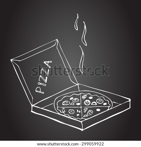 Hand drawn pizza in box on a chalkboard.  Pictures drawn in chalk on a blackboard. Sketch, doodles. Hand drawn elements for your design. Menu for pizzeria. Vector illustration. - stock vector