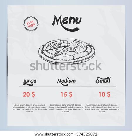 Hand drawn pizza menu - stock vector
