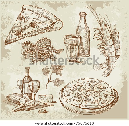 hand drawn pizza set - stock vector