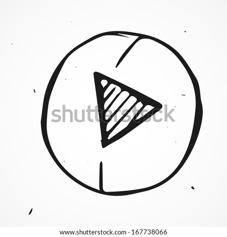Hand drawn play button - stock vector
