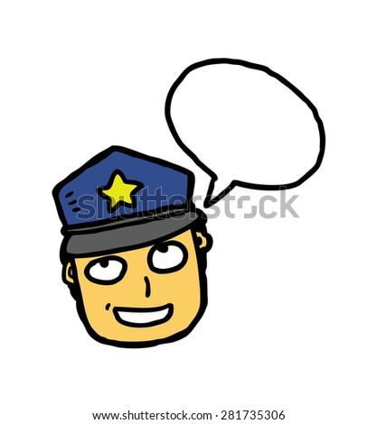 hand drawn policeman - stock vector