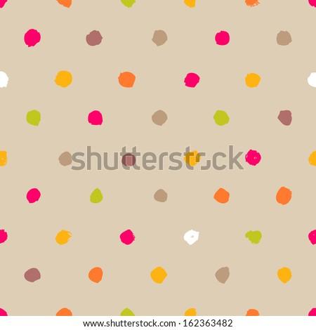Hand-drawn polka dot seamless pattern - stock vector