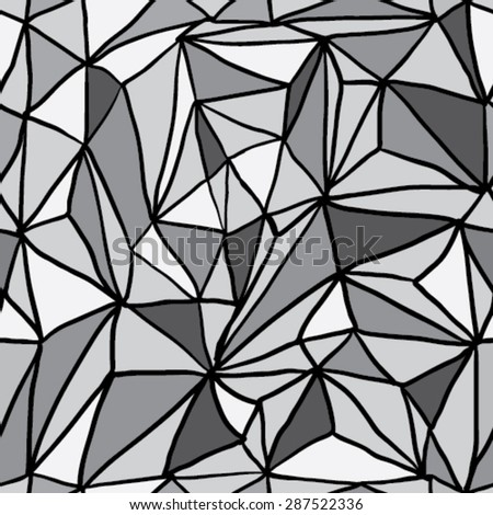 Hand Drawn Polygon Triangulation Seamless Pattern, Vector EPS10 Background - stock vector