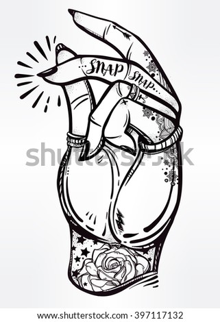 Hand drawn pop art flesh snapping fingers poster. Rock and Roll hand sign. Vector illustration isolated. Tattoo design, music, summer, print symbol for your use. - stock vector