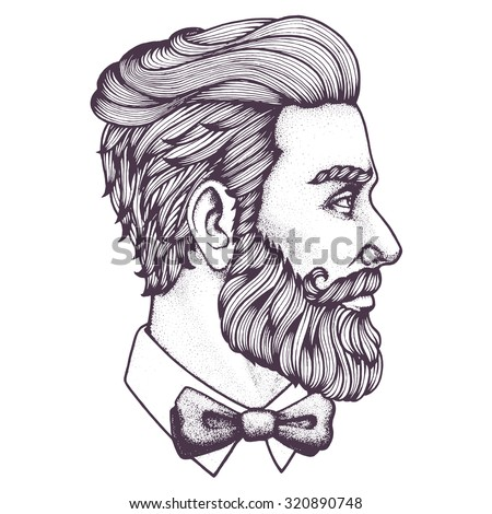 Hand Drawn Portrait Bearded Man Sideview Stock Vector ...