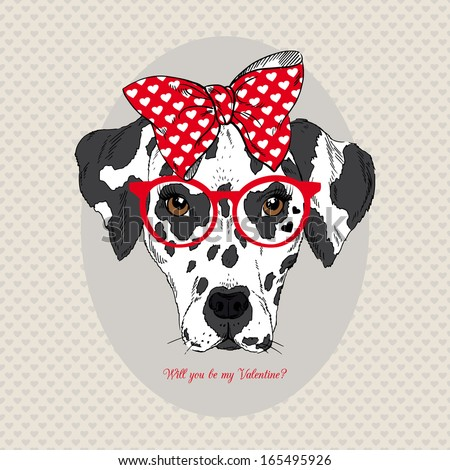 Hand Drawn Portrait of Dalmatian Girl in bow and glasses, Valentine greeting card - stock vector