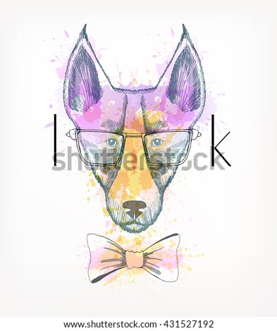 Hand Drawn portrait of hipster dog with watercolor blots. Look - stock vector