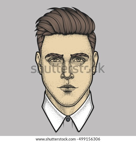 Hand drawn portrait of man full face. Vector illustration.