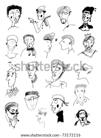 hand-drawn portraits of men and women - stock vector