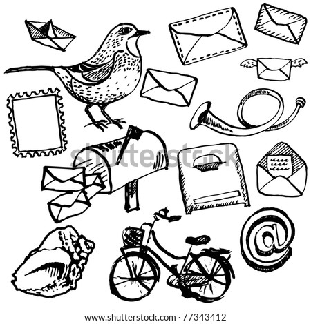 Hand drawn postal doodle set - stock vector