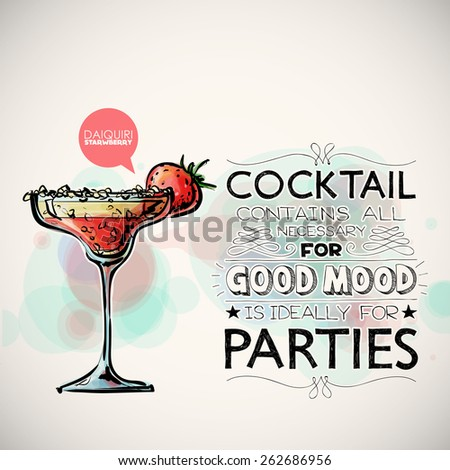 Hand drawn poster with cocktail and text. Vector collection.