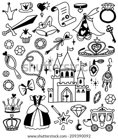 hand-drawn princess doodles - stock vector