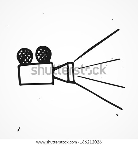 Hand drawn projector - stock vector