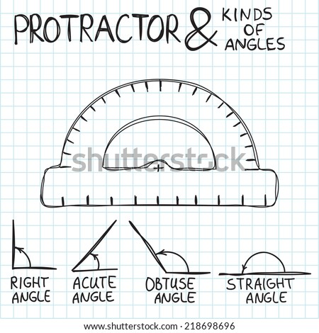 Hand-drawn protractor and angles. Kinds of angles: right, acute, obtuse, straight. Education, geometry, math. - stock vector